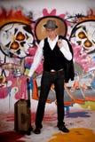 Pared adolescente de la pintada de la maleta Foto de archivo