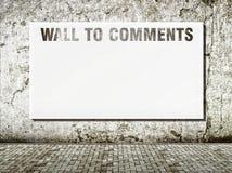 Pared al espacio de los comentarios para el texto imágenes de archivo libres de regalías
