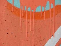 Pared anaranjada pintada hormigón Fotografía de archivo libre de regalías