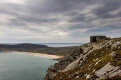 Pared atlántica en Bretaña, Francia Fotos de archivo
