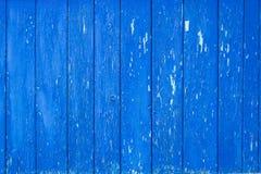 Pared azul vieja del tablón Imagen de archivo