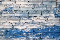 pared Blanco-azul de los ladrillos para el fondo Imagenes de archivo