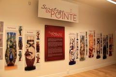 Pared con imágenes de los deslizadores del ballet de Pointe, museo nacional de la danza, Saratoga Springs, Nueva York, 2015 Imagenes de archivo