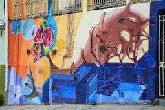 Pared con la pintada en Valparaiso, Chile Fotos de archivo