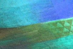 Pared con la pintura verde y azul del modelo Fotografía de archivo