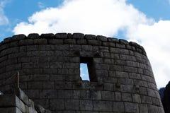 Pared con la ventana Machu Picchu Peru South America Fotos de archivo libres de regalías