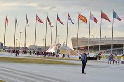 Pared con las medallas olímpicas en el parque olímpico, Sochi, Federación Rusa foto de archivo