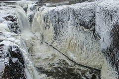 ` Pared-congelado Great Falls del hielo del ` de Paterson Fotografía de archivo