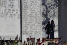 Pared conmemorativa NY del Cuerpo del Marines imagenes de archivo