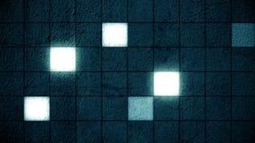 Pared cuadrada azul de la rejilla que brilla intensamente ilustración del vector
