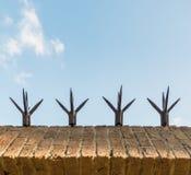 Pared de albañilería superior con los puntos agudos Fotos de archivo