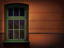 Pared de Brown y fondo de madera verde de la ventana Imágenes de archivo libres de regalías
