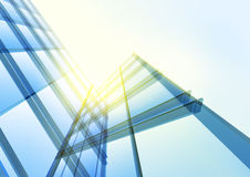 Pared de cristal azul moderna del edificio de oficinas Fotografía de archivo