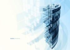 Pared de cristal azul moderna del edificio de oficinas Imagen de archivo