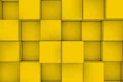 Pared de cubos amarillos Fotos de archivo libres de regalías
