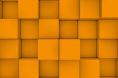 Pared de cubos anaranjados abstraiga el fondo Imagen de archivo libre de regalías