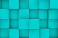 Pared de cubos ciánicos abstraiga el fondo Fotografía de archivo