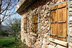 Pared de la casa rural de piedra Imagen de archivo libre de regalías