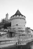 Pared de la ciudad de Lucerna con la torre medieval Imagen de archivo libre de regalías