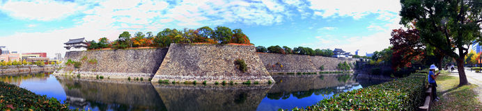 Pared de la fortaleza de Osaka Castle Imagen de archivo libre de regalías