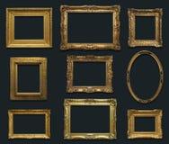 Pared de la galería con los viejos marcos Fotos de archivo
