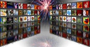 Pared de la película con los fuegos artificiales Foto de archivo libre de regalías