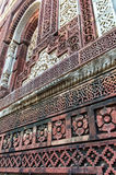 Pared de la piedra arenisca de Qutub Minar imágenes de archivo libres de regalías
