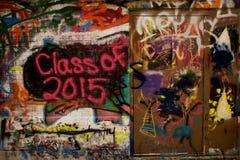Pared de la pintada - clase de 2015 Imágenes de archivo libres de regalías