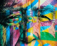 Pared de la pintada de Oscar Niemayer en São Paulo Brazil foto de archivo libre de regalías