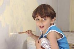 Pared de la pintura del niño Imagenes de archivo