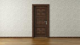 Pared de ladrillo blanca con la puerta fotografía de archivo libre de regalías