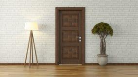 Pared de ladrillo blanca con la puerta y la luz ilustración del vector