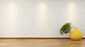 Pared de ladrillo blanca con los bonsais en florero Foto de archivo