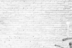 Pared de ladrillo blanca vieja del fondo foto de archivo libre de regalías
