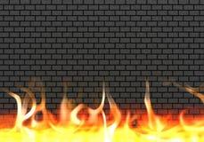 Pared de ladrillo con el fuego 3d rinden fotografía de archivo libre de regalías