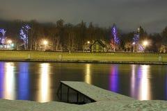 Pared de ladrillo con las luces festivas en el lago del invierno Imágenes de archivo libres de regalías
