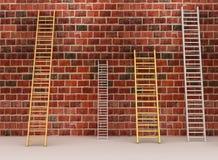 Pared de ladrillo envejecida con las escaleras Imagen de archivo libre de regalías