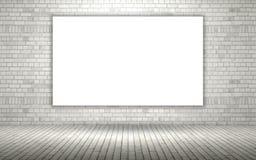 pared de ladrillo expuesta 3D con la lona en blanco ilustración del vector