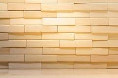 Pared de ladrillo de madera hecha de los bloques de madera imagen de archivo libre de regalías