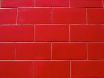 Pared de ladrillo pintada roja Imagen de archivo