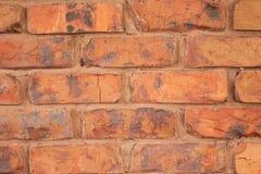 Pared de ladrillo roja con el mortero anaranjado Foto de archivo libre de regalías