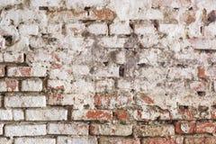 Pared de ladrillo sucia con el estuco blanco lamentable Fondo de la vendimia Imagen de archivo