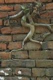 Pared de ladrillo vieja con el árbol Foto de archivo libre de regalías