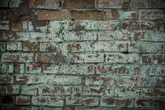 Pared de ladrillo vieja con los rastros de pintura verde Fotos de archivo libres de regalías