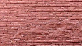 Pared de ladrillo vieja del grunge pintada en rojo stock de ilustración