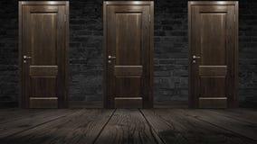Pared de ladrillo vieja y puerta de madera, roble stock de ilustración
