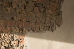 Pared de ladrillo y enyesado Imagen de archivo