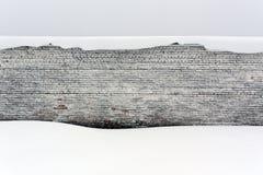 Pared de ladrillo y nieve viejas Foto de archivo libre de regalías