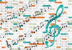Pared de ladrillo y notas musicales Imagen de archivo