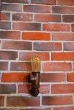 Pared de ladrillos coloreados con una lámpara fotografía de archivo libre de regalías